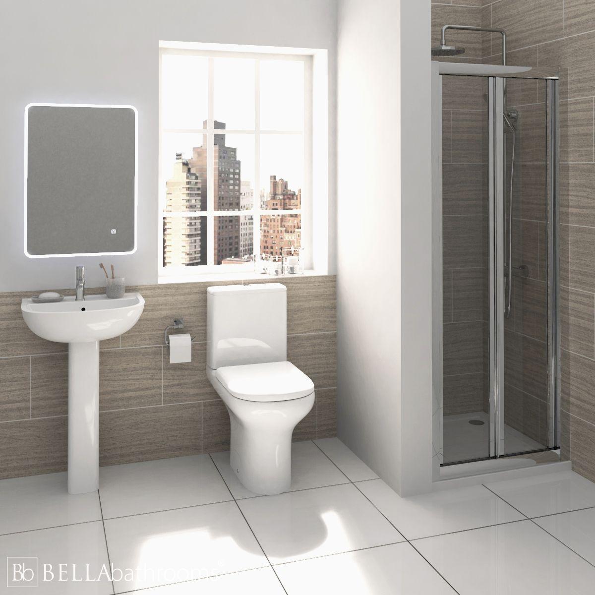 RAK Compact Shower Suite with Pacific Bi-Fold Door Shower Enclosure Recess