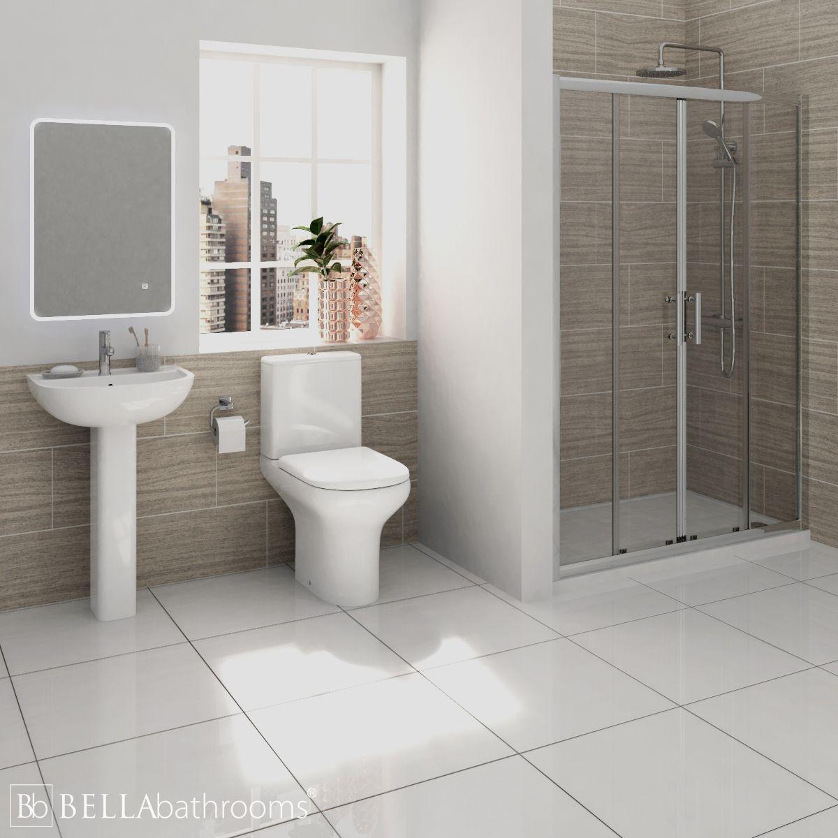 RAK Compact Shower Suite with Pacific Double Sliding Door Shower Enclosure Recess