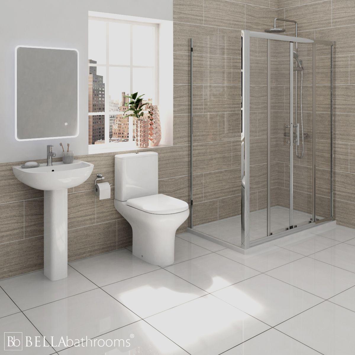 RAK Compact Shower Suite with Pacific Double Sliding Door Shower Enclosure