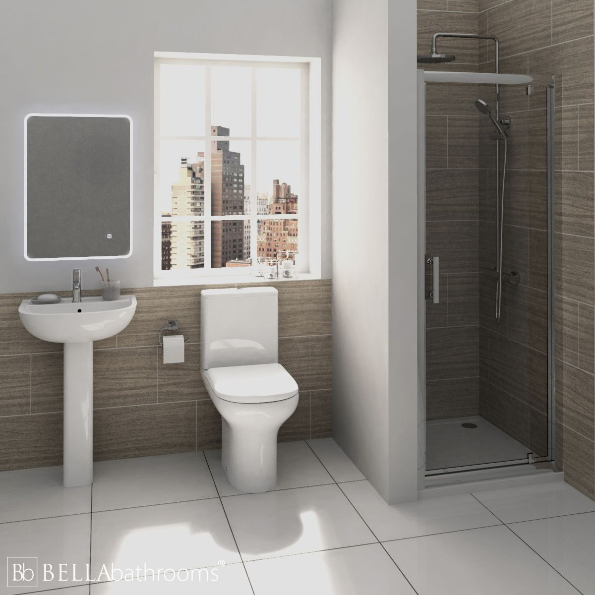RAK Compact Shower Suite with Pacific Pivot Door Shower Enclosure Recess