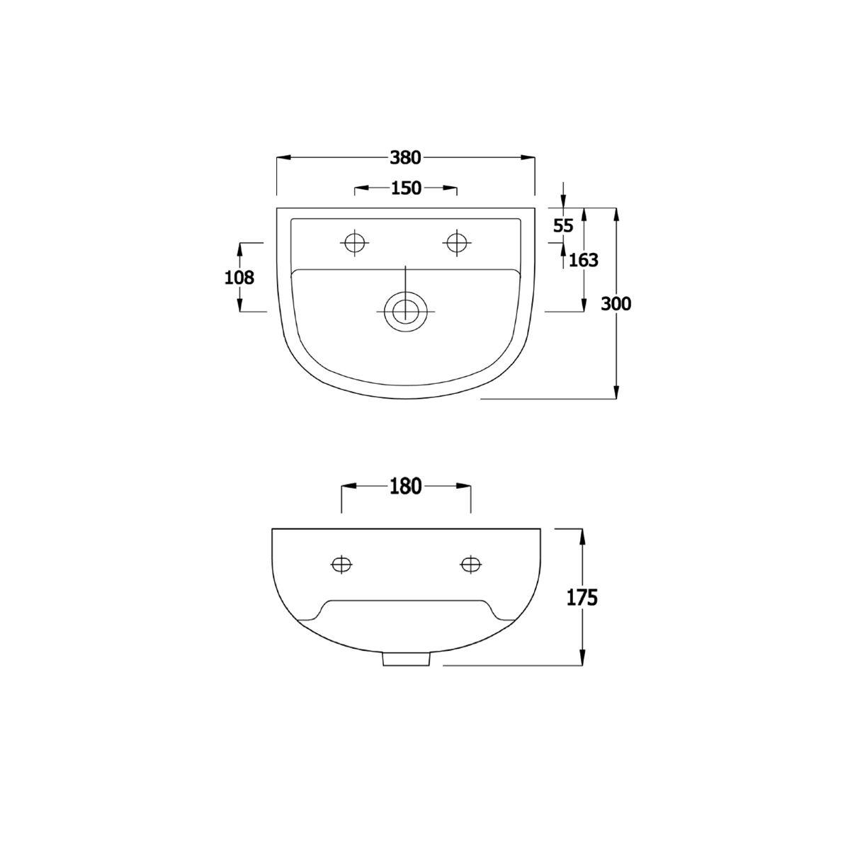 RAK Compact 1 Tap Hole Basin 380mm Drawing
