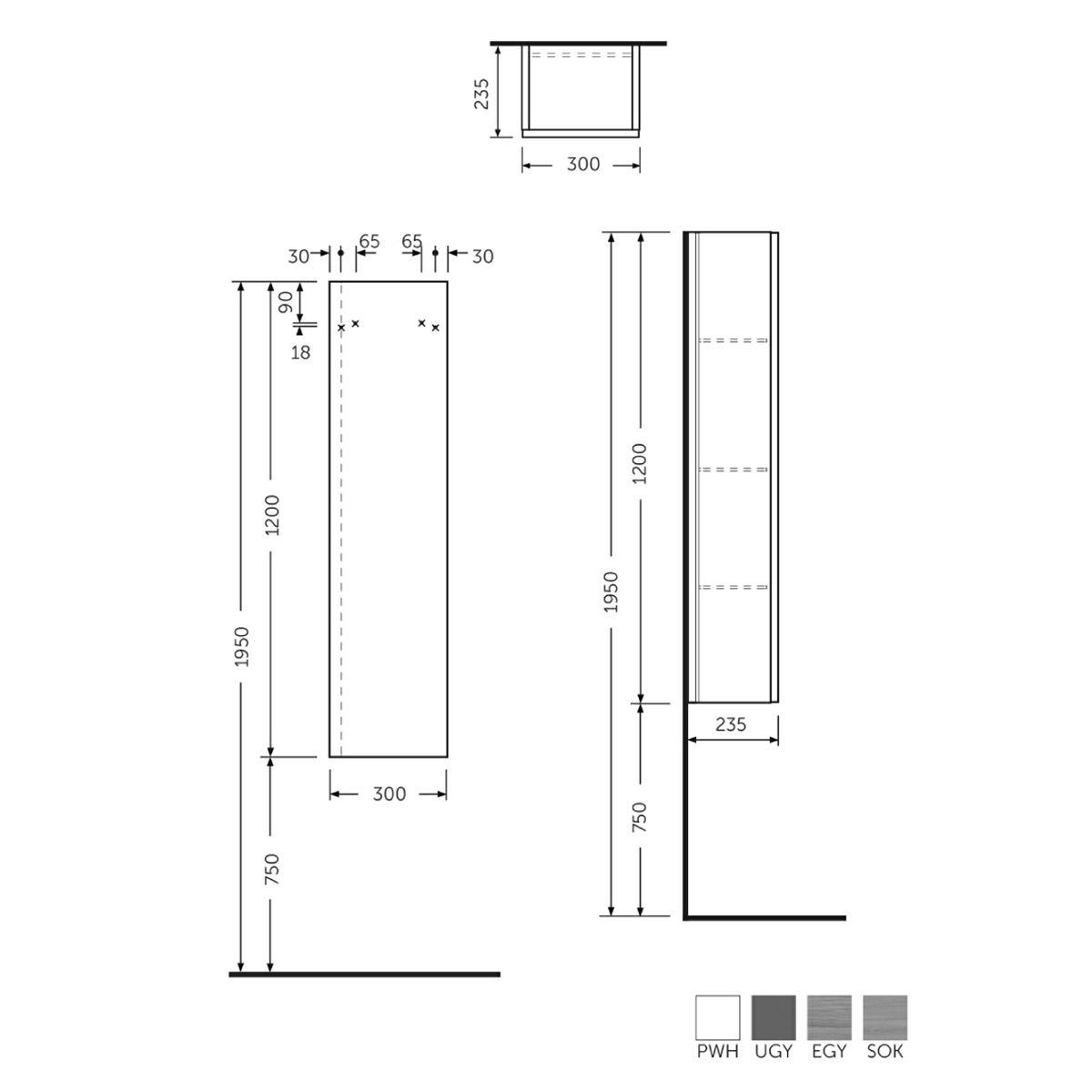 RAK Joy Wall Mounted Scandinavian Oak Tall Storage Unit Measurements