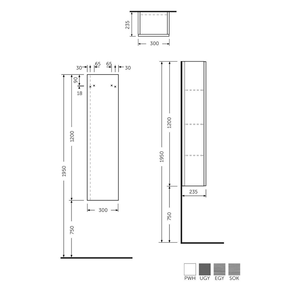 RAK Joy Wall Mounted Grey Elm Tall Storage Unit  Measurements