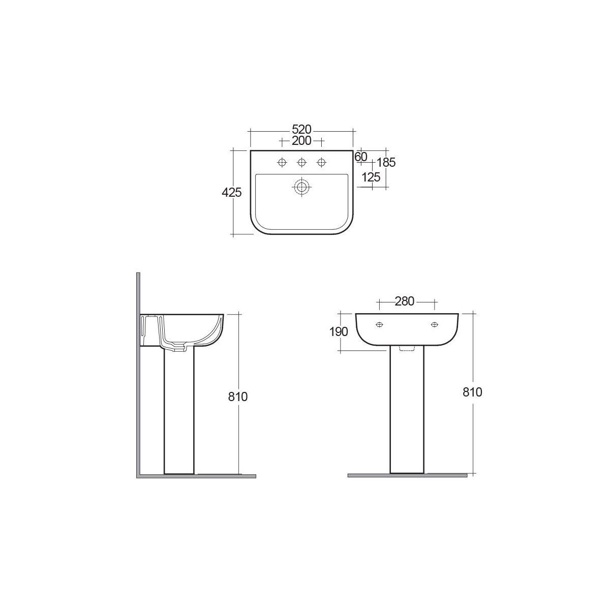 RAK Series 600 Basin with Full Pedestal Dimensions