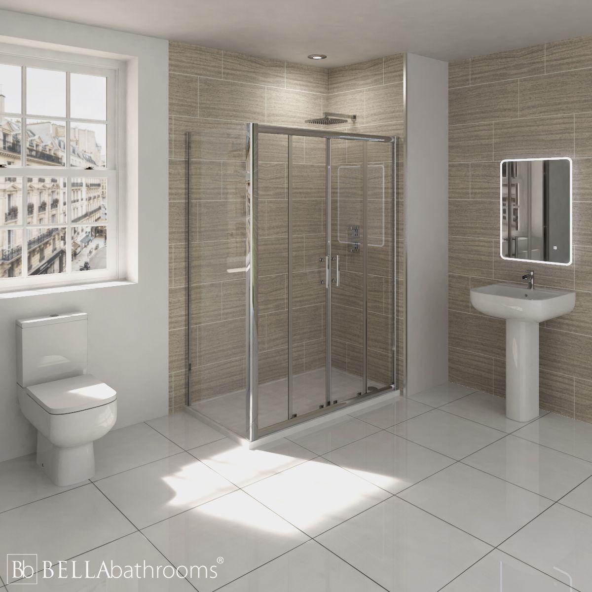 RAK Series 600 En-Suite Bathroom with Pacific Double Sliding Door Shower Enclosure