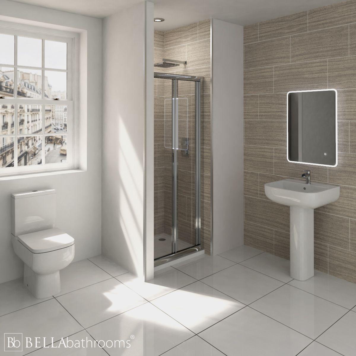 RAK Series 600 En-Suite Bathroom with Pacific Bifold Door Shower Enclosure Recess