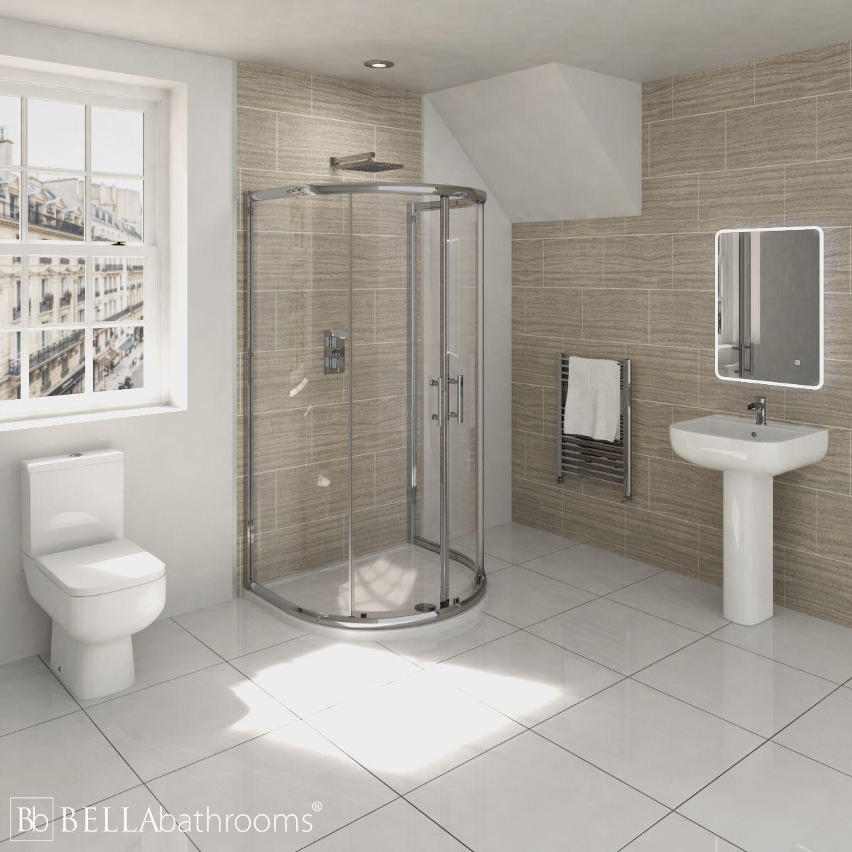 RAK Series 600 En-Suite Bathroom with Pacific D Shaped Shower Enclosure