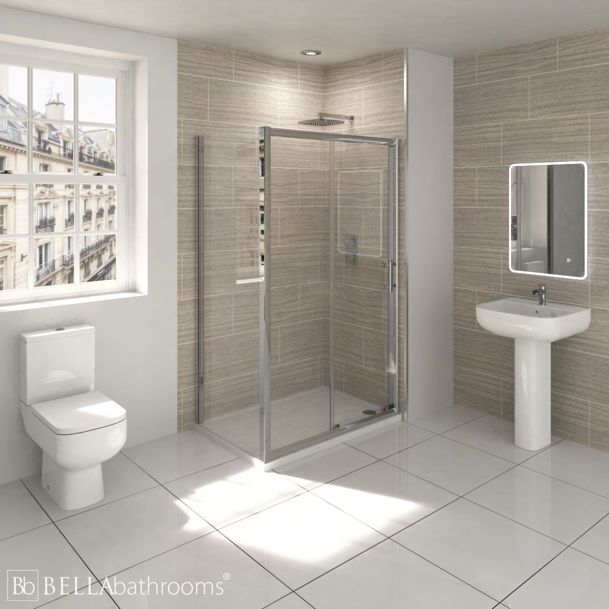RAK Series 600 En-Suite Bathroom with Pacific Sliding Shower Enclosure