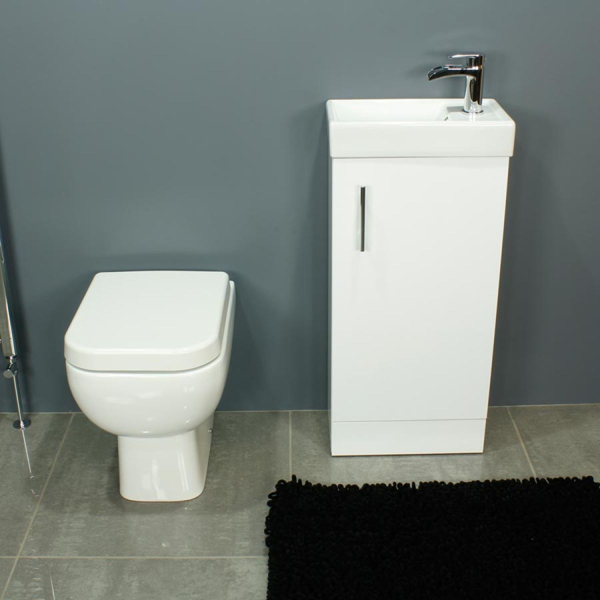 RAK Series 600 Back To Wall Toilet and 400 Series Gloss White Vanity Unit Front