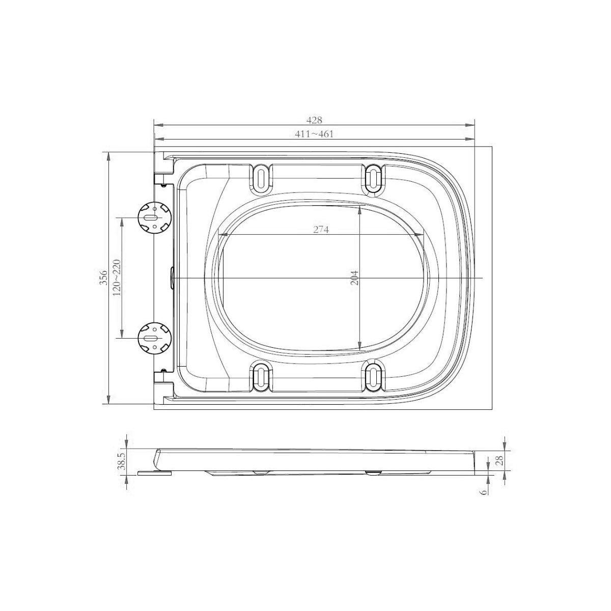 RAK Series 600 Slimline Soft Close Seat Dimensions