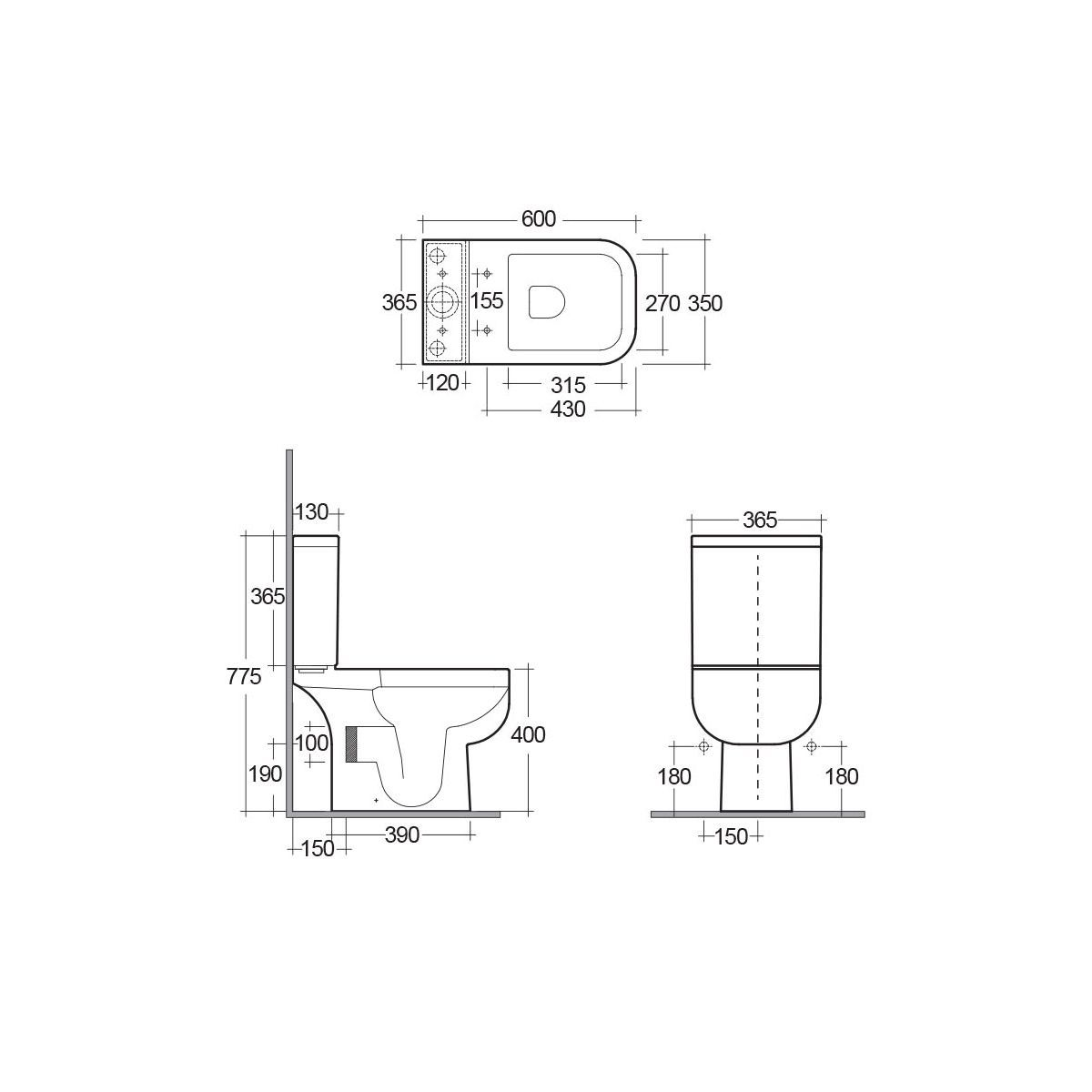 RAK Series 600 Short Projection Toilet Dimensions