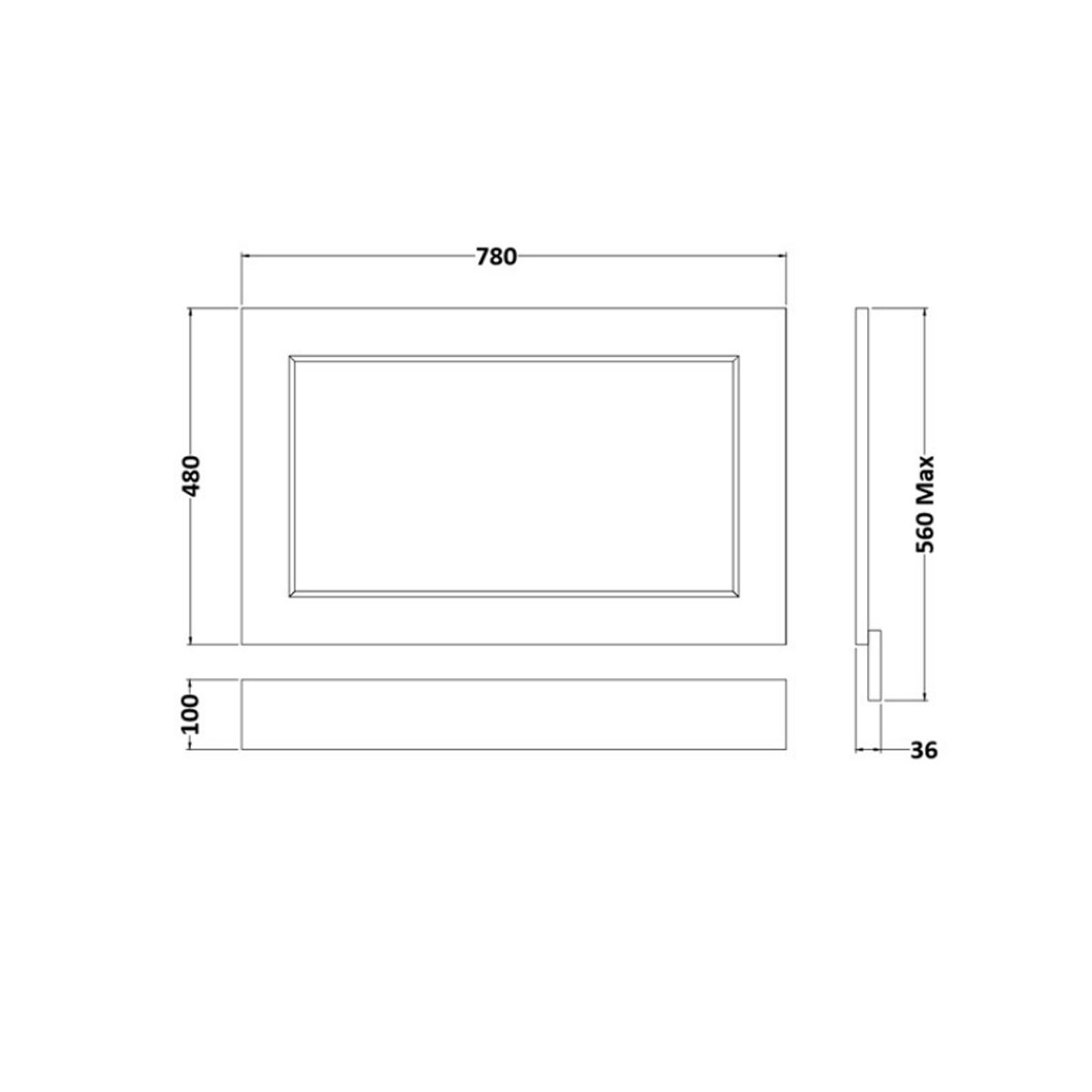 RAK Washington Cappucino End Bath Panel 800mm Measurements