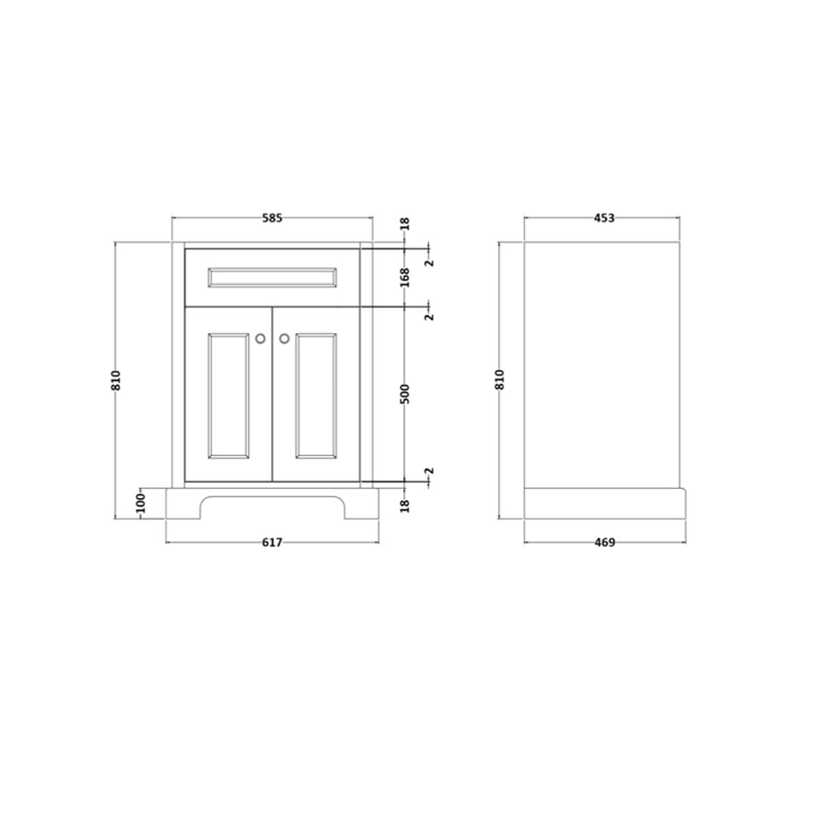 RAK Washington White Vanity Unit with Grey Countertop 600mm Measurements