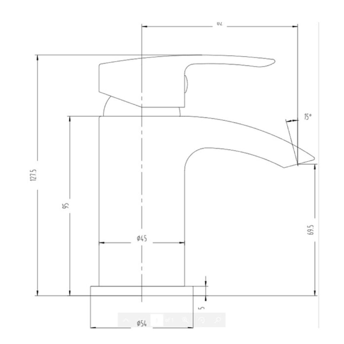 RAK Curve Chrome Mini Mono Basin Mixer Tap with Waste Measurements