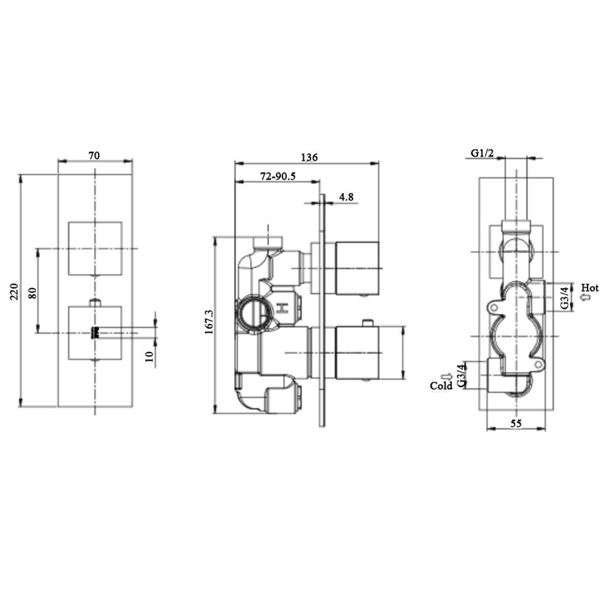 RAK Feeling Cappucino Square Single Outlet Thermostatic Shower Valve Measurements