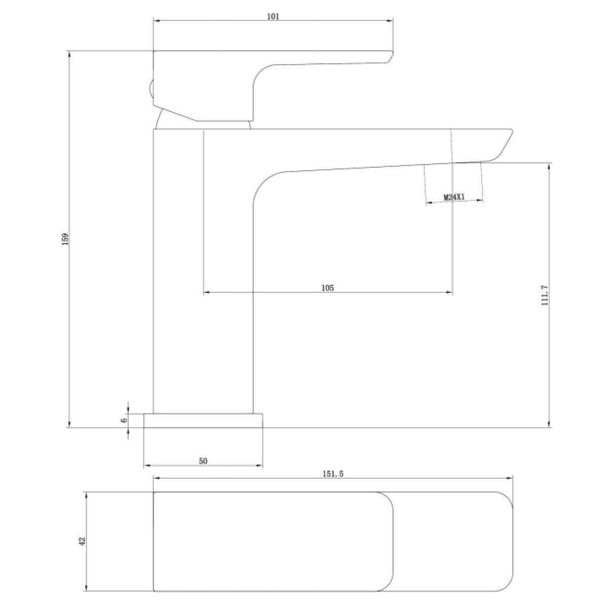RAK Moon Chrome Mini Mono Basin Mixer Tap with Waste Measurements