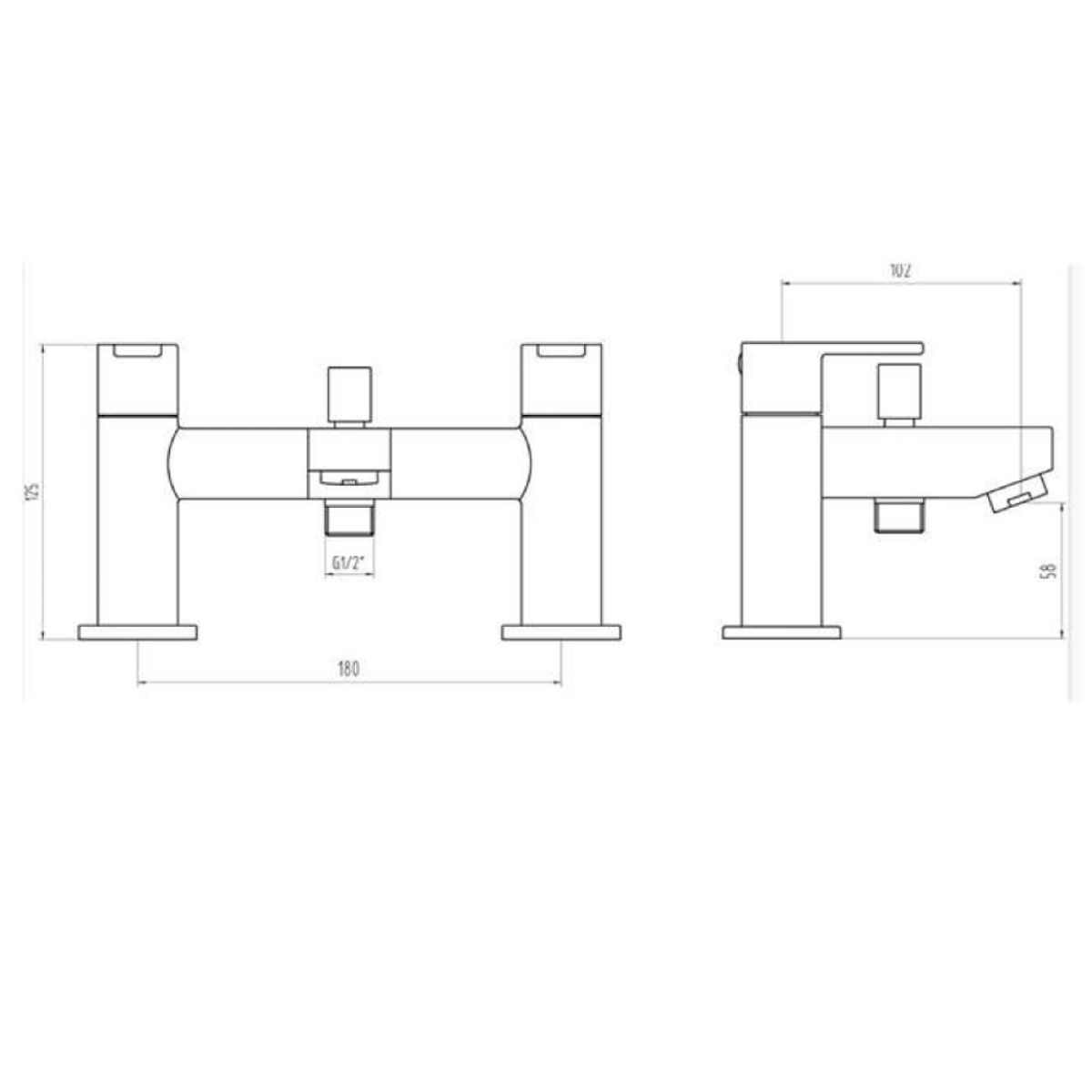 RAK Morning Deck Mounted Shower Bath Mixer Tap Measurements