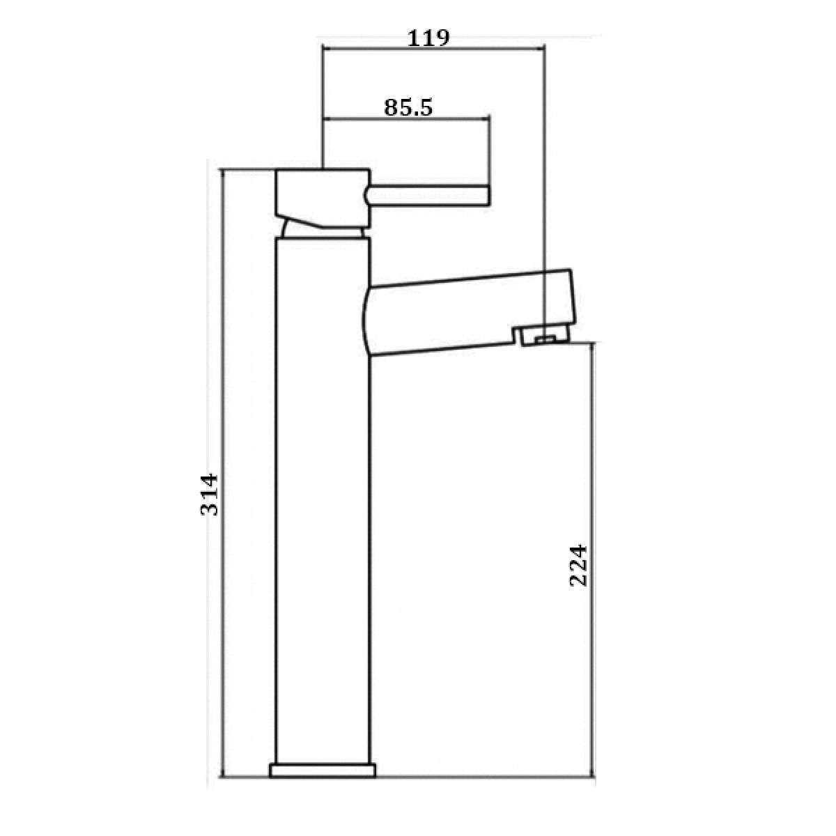 RAK Prima Chrome Tall Mono Basin Mixer Tap Measurements