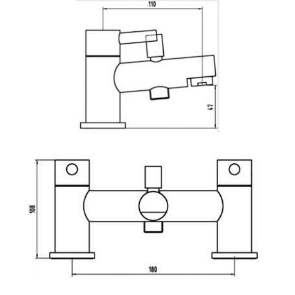 RAK Prima Deck Mounted Shower Bath Mixer Tap Measurements