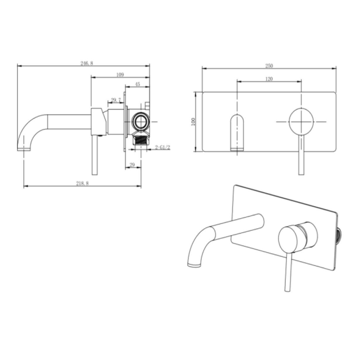 RAK Prima Tech Wall Mounted Basin Mixer Tap with Backplate Measurements