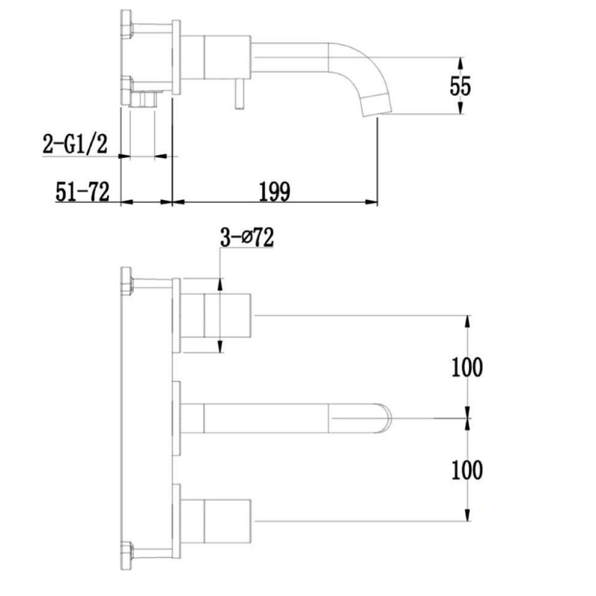 RAK Prima Tech Wall Mounted 3 Hole Basin Mixer Tap Measurements