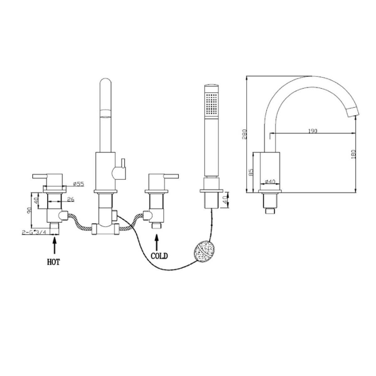 RAK Prima Tech Deck Mounted 4 Hole Shower Bath Mixer Tap Measurements