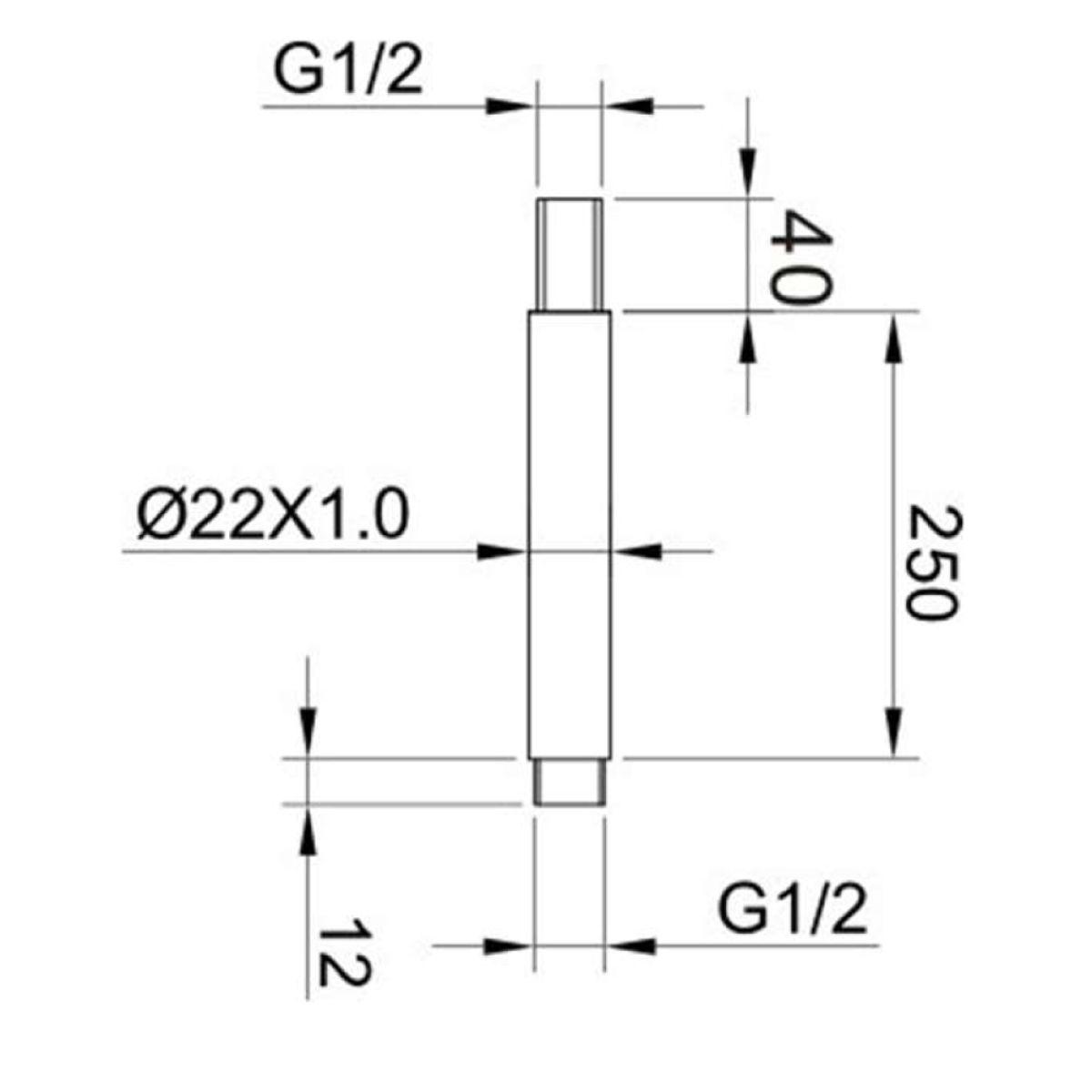 RAK Chrome Round Ceiling Mounted Shower Arm 250mm Measurements