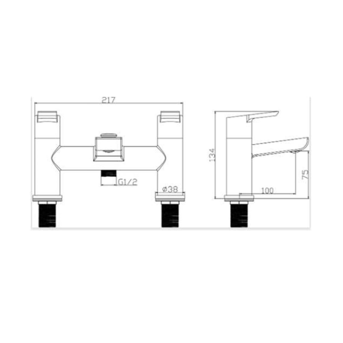 RAK Sport Deck Mounted Shower Bath Mixer Tap Measurements