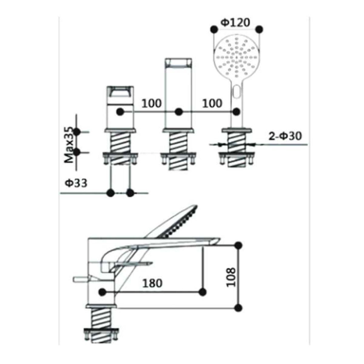 RAK Sport 3 Hole Shower Bath Mixer Tap Measurements
