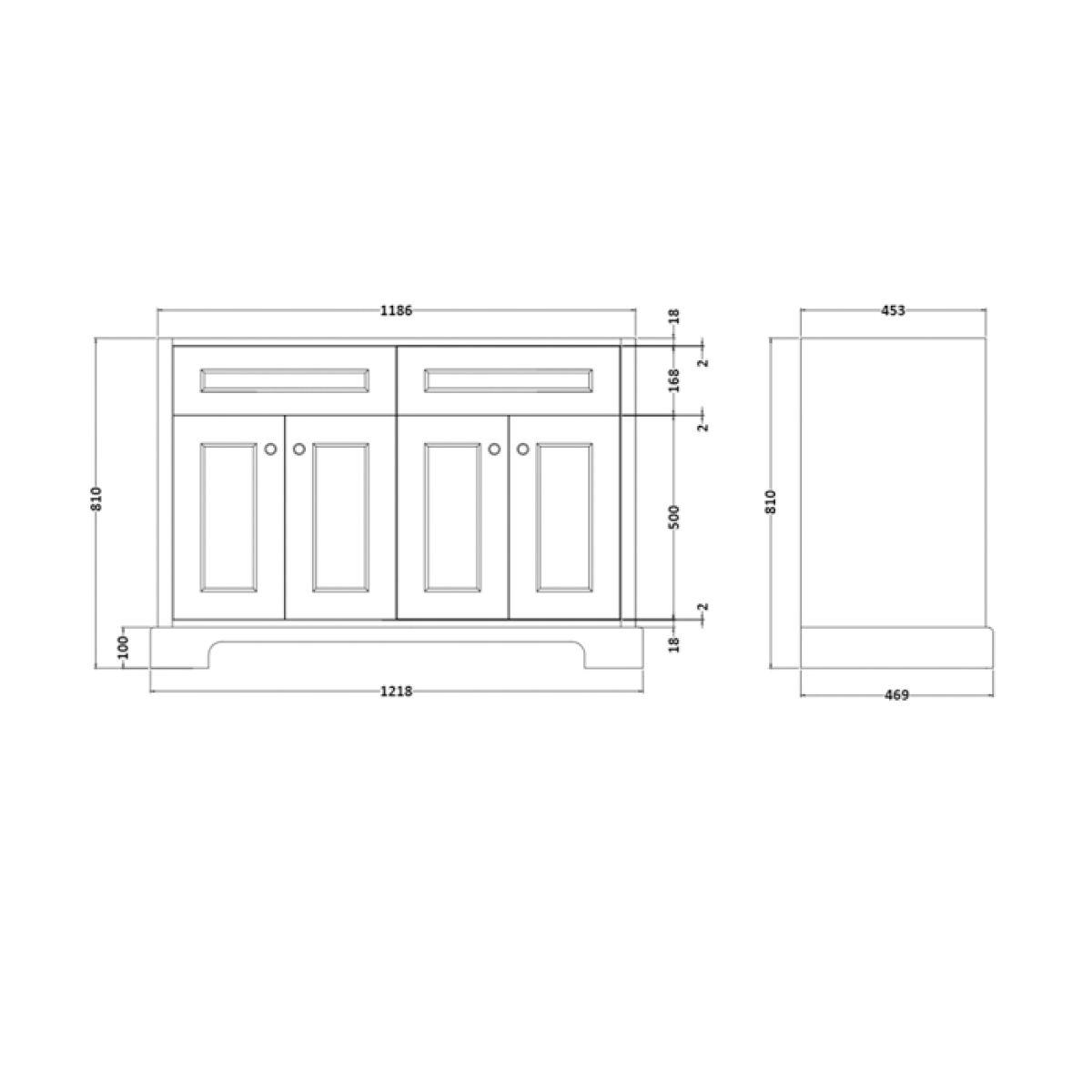 RAK Washington Greige Vanity Unit with Black Countertop 1200mm Measurements