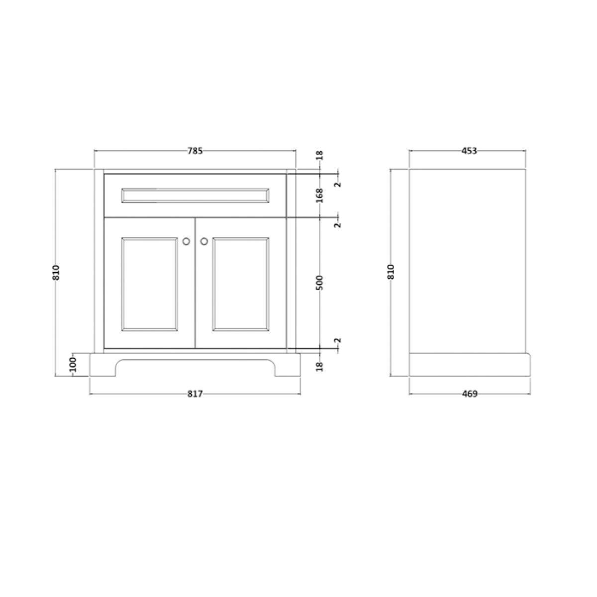 RAK Washington White Vanity Unit with Black Countertop 800mm Measurements