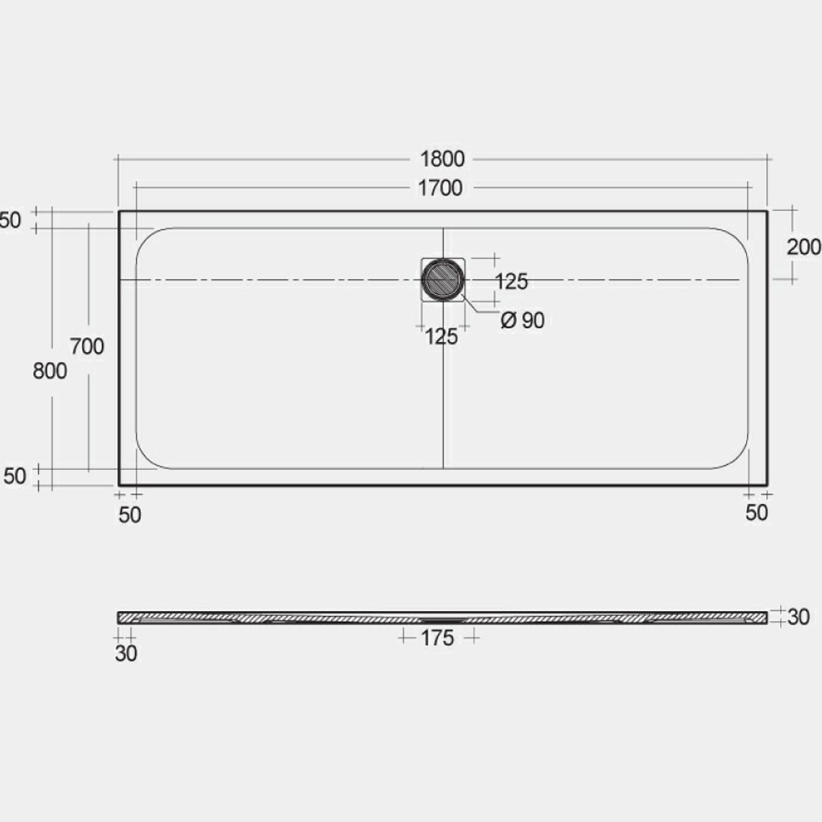 RAK Feeling Grey Rectangular Shower Tray 1800 x 800mm Measurements