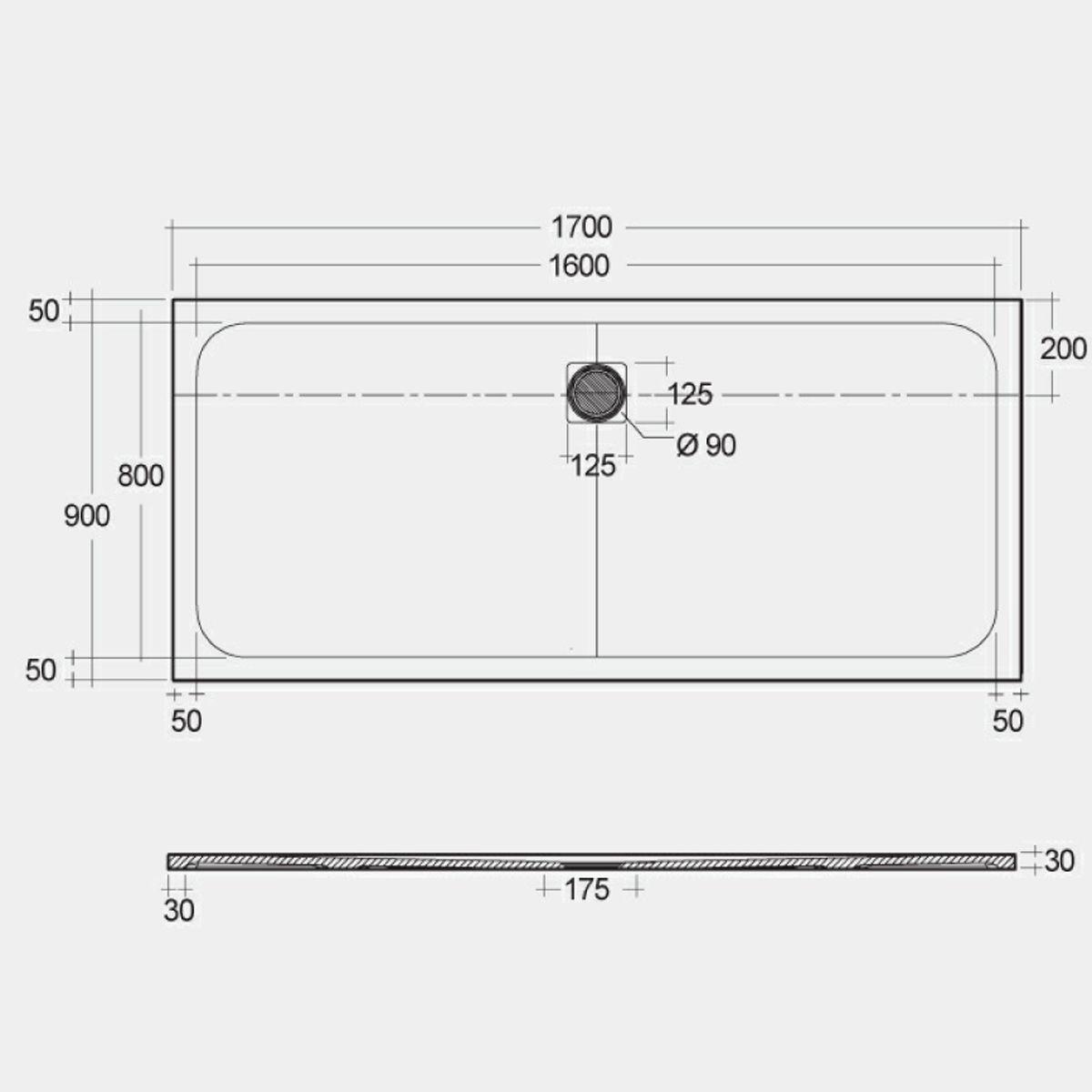 RAK Feeling White Rectangular Shower Tray 1700 x 900mm Measurements
