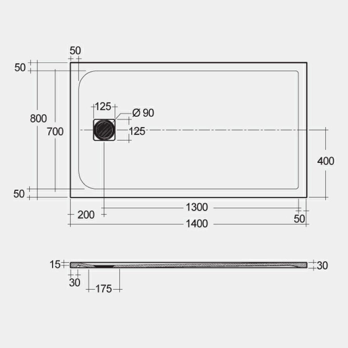 RAK Feeling Black Rectangular Shower Tray 1400 x 800mm Measurements