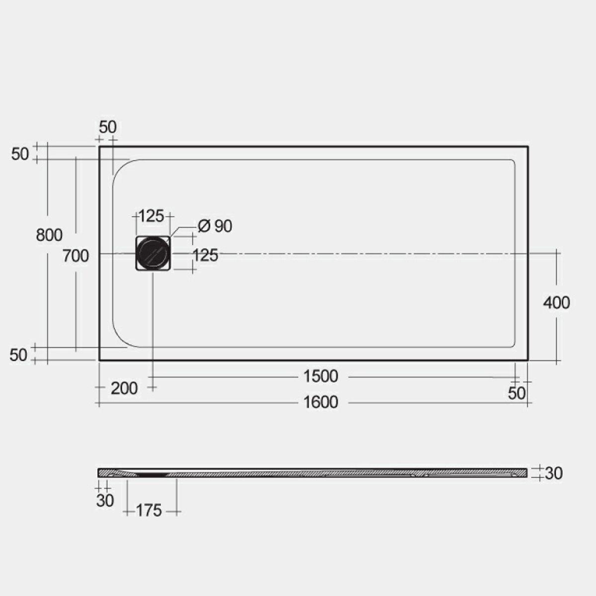 RAK Feeling Black Rectangular Shower Tray 1600 x 800mm Measurements
