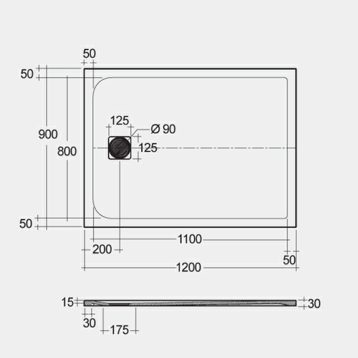 RAK Feeling Black Rectangular Shower Tray 1200 x 900mm Measurements