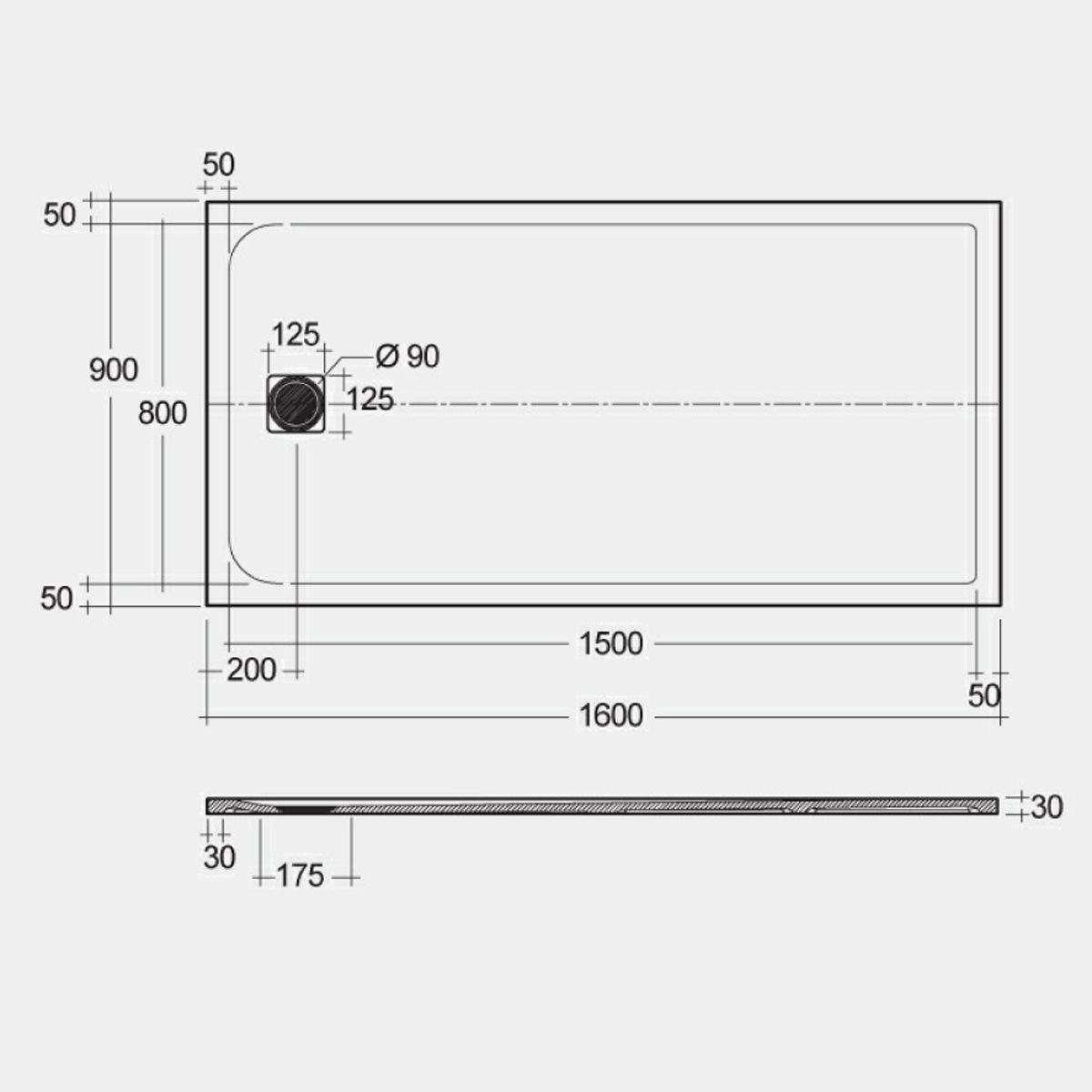 RAK Feeling Cappuccino Rectangular Shower Tray 1600 x 900mm Measurements