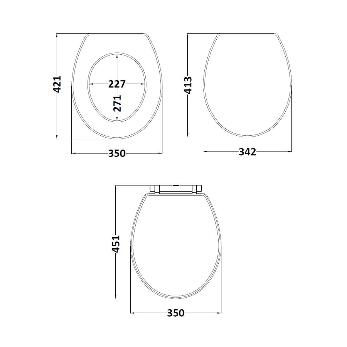 Richmond & Carlton Storm Grey Soft Close Toilet Seat Dimensions