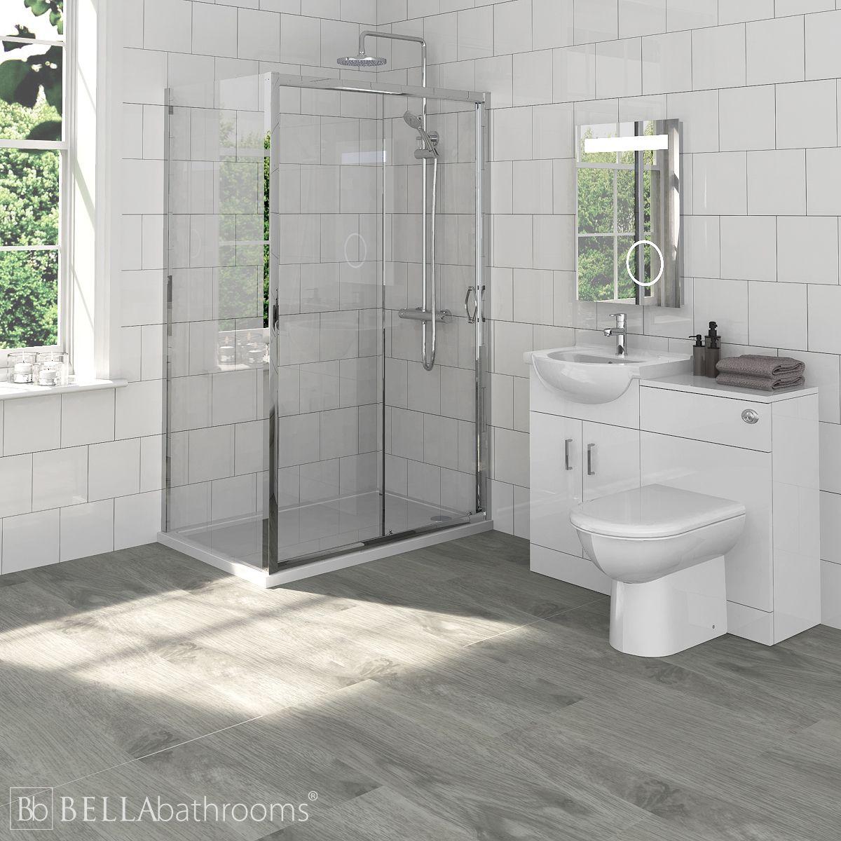 Saturn Bathroom Furniture Pack with Ella Sliding Shower Enclosure