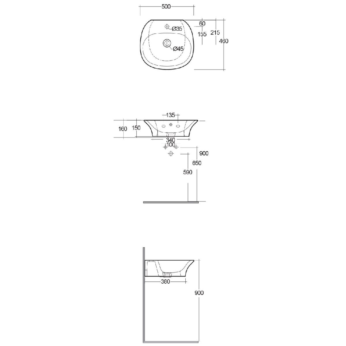 RAK Sensation Gloss White 1 Tap Hole Wall Hung Basin 500mm Measurements