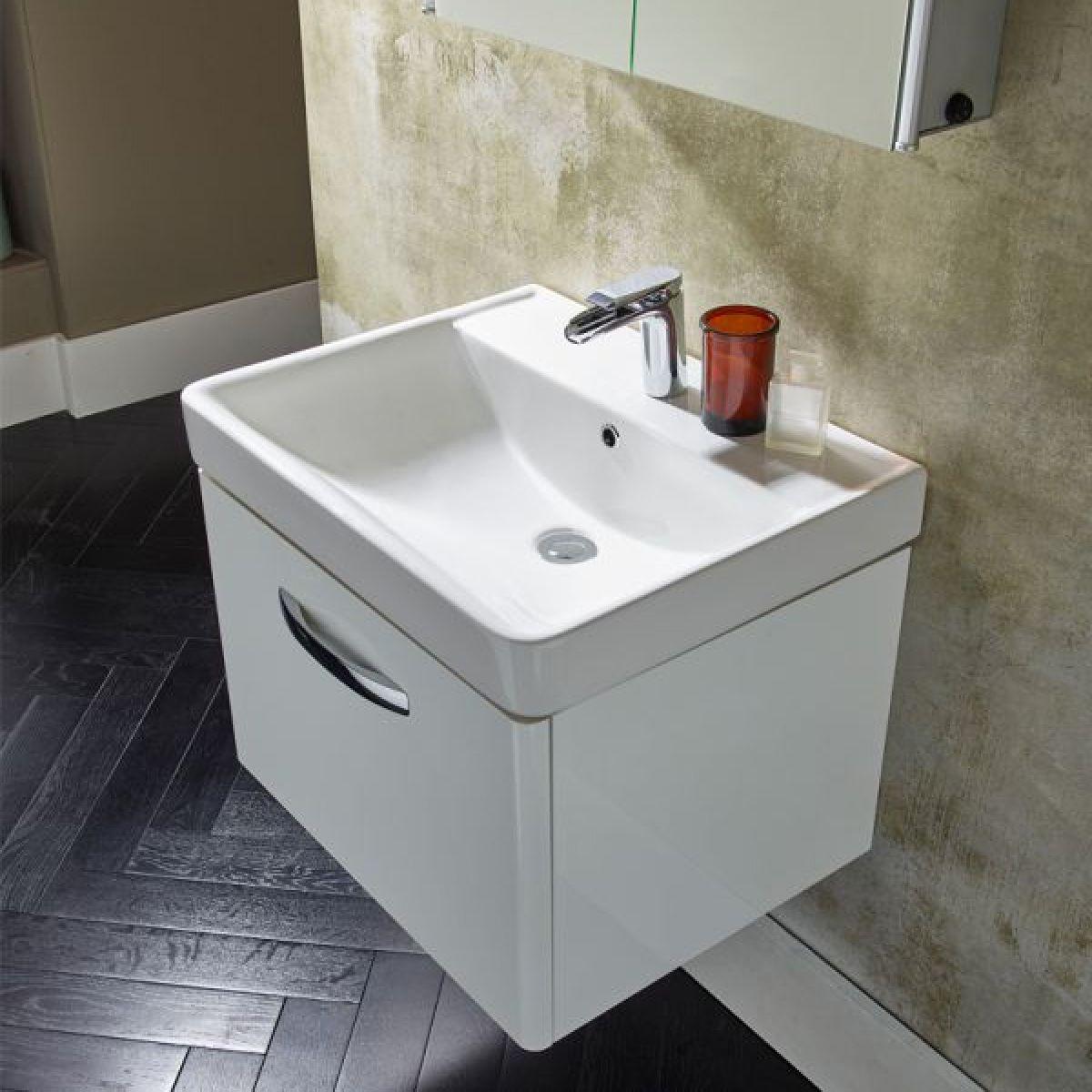 Tavistock Compass Gloss White Wall Mounted Vanity Unit 600mm Basin