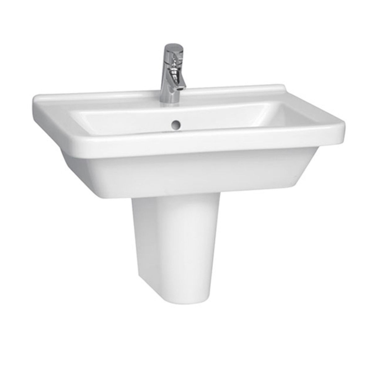 Vitra S50 1 Tap Hole Square Basin with Semi Pedestal 650mm