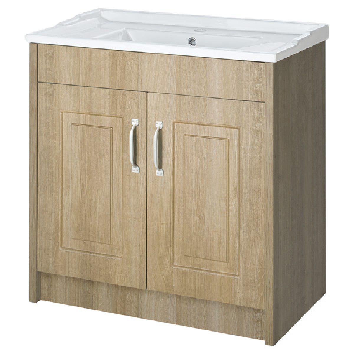 York Traditional Gladstone Oak Vanity Unit 800mm