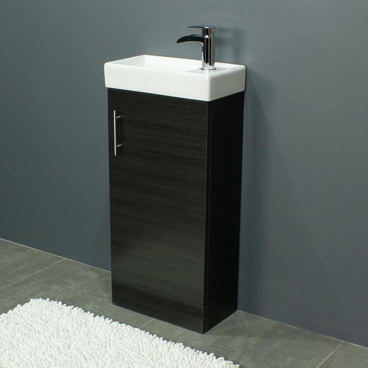 Cassellie 400 Series Black Ash Single Door Vanity Unit