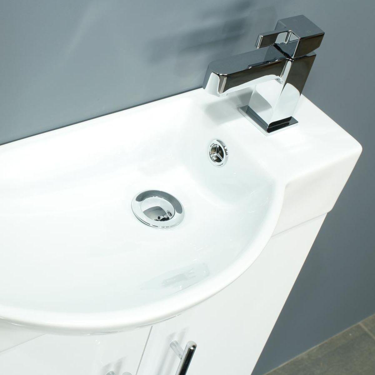 Cassellie 500 Series Mini Gloss White Double Door Vanity Unit Basin
