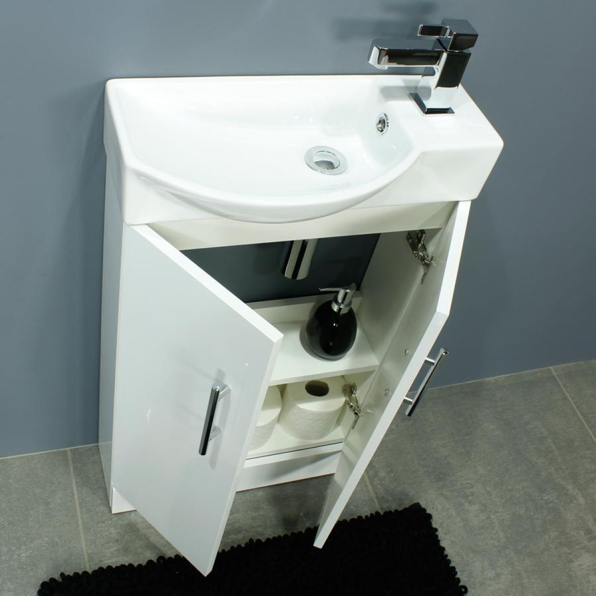Cassellie 500 Series Mini Gloss White Double Door Vanity Unit Doors