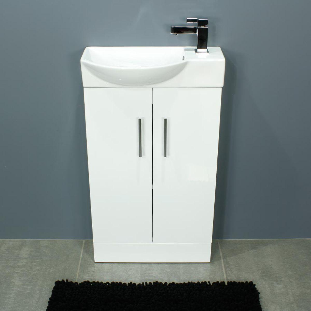 Cassellie 500 Series Mini Gloss White Double Door Vanity Unit Front