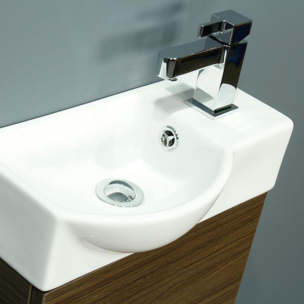 Cassellie 400 Series Mini Walnut Single Door Vanity Unit Basin