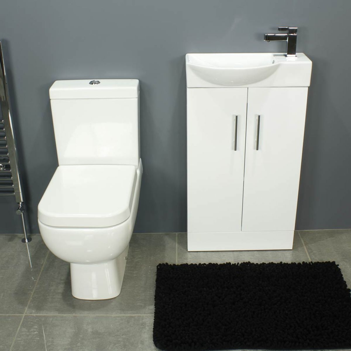 RAK Series 600 Close Coupled Toilet and 500 Series Gloss White Mini Double Door Vanity Unit Front
