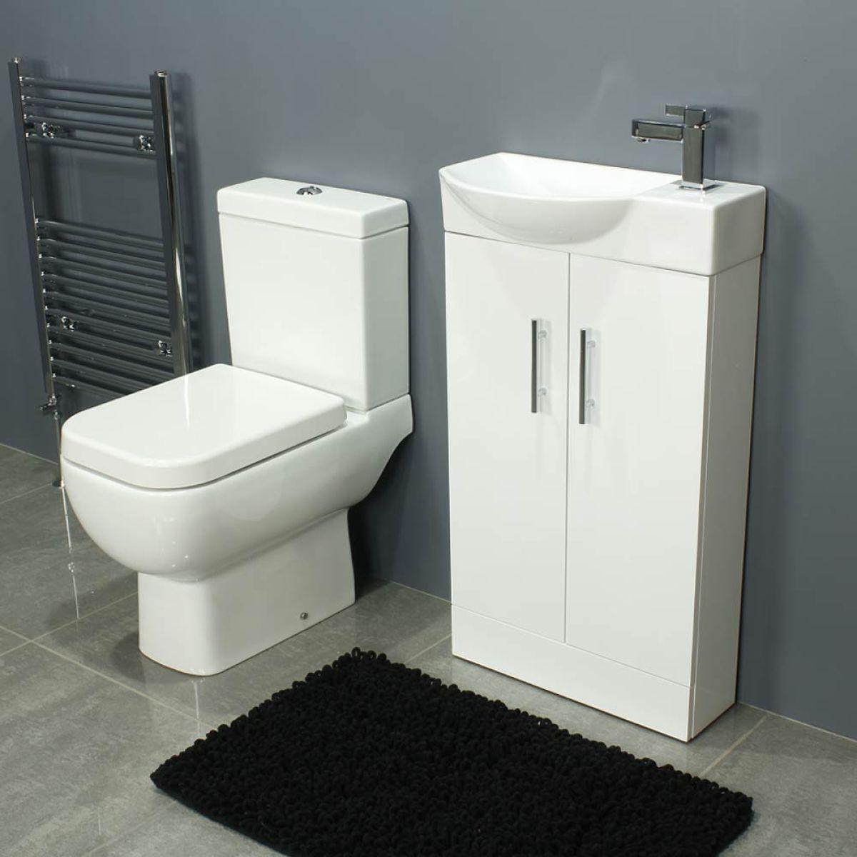 RAK Series 600 Close Coupled Toilet and 500 Series Gloss White Mini Double Door Vanity Unit